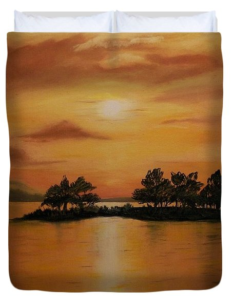 Lac La Biche  Sunset Duvet Cover