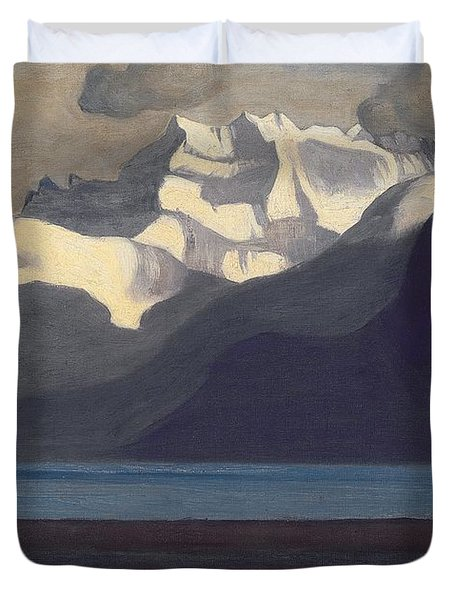 Lac Leman And Les Dents-du-midi Duvet Cover by Felix Edouard Vallotton