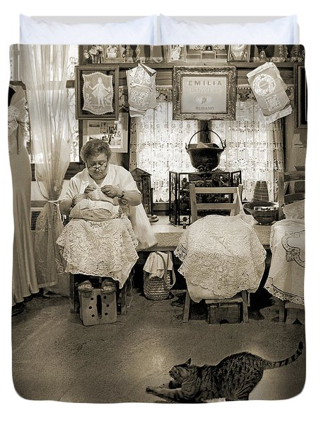 Duvet Cover featuring the photograph Lace Lady Of Burano-bw by Jennie Breeze