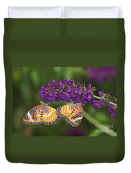 Duvet Cover featuring the photograph Lacewing Duet by Ruth Jolly