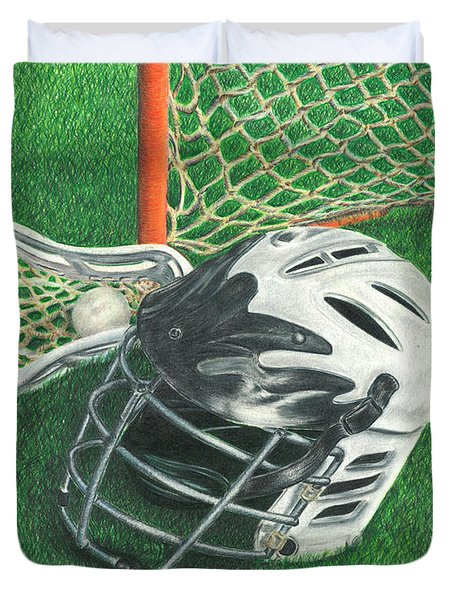 Duvet Cover featuring the drawing Lacrosse by Troy Levesque