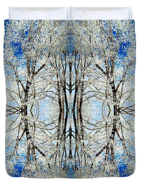 Duvet Cover featuring the photograph Lacy Winter Trees Abstract Art Photo by Marianne Dow