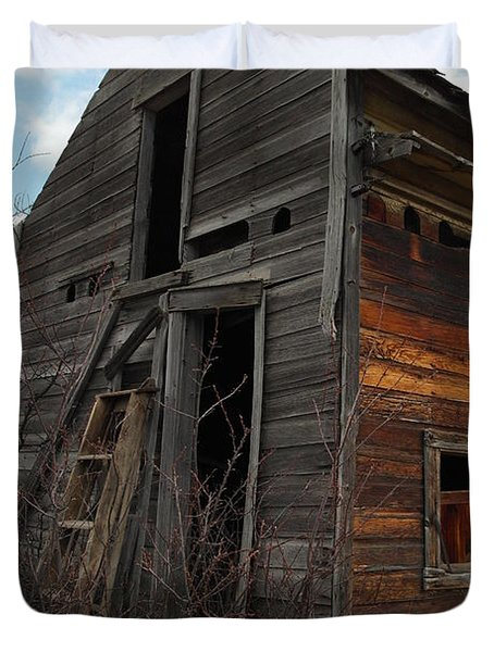 Ladder Against A Barn Wall Duvet Cover by Jeff Swan