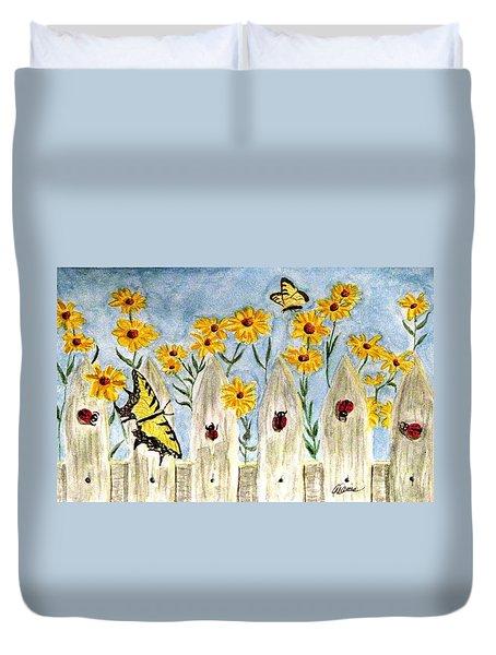 Duvet Cover featuring the painting Ladies In The Garden by Angela Davies