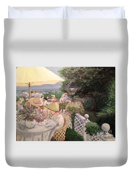 Duvet Cover featuring the painting Ladies Luncheon by Marilyn Zalatan