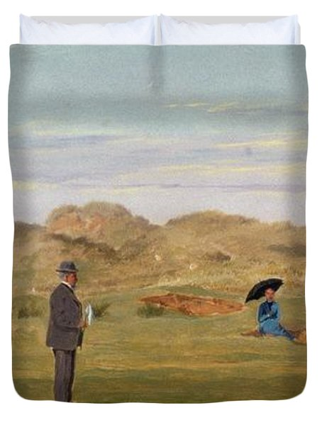 Ladies Match At Westward Ho Duvet Cover by Francis Powell Hopkins