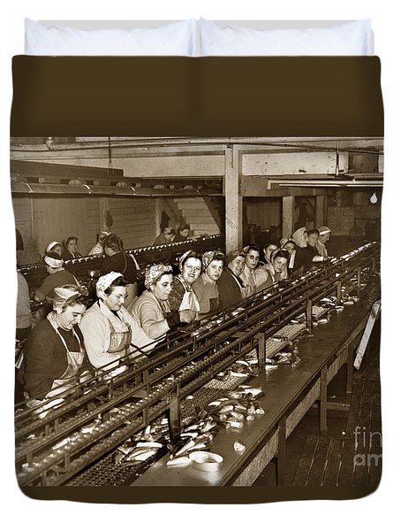 Ladies Packing Sardines In One Pound Oval Cans In One Of The Over 20 Cannery's Circa 1948 Duvet Cover