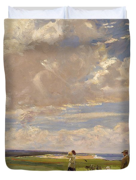 Lady Astor Playing Golf At North Berwick Duvet Cover by Sir John Lavery