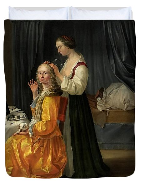 Lady At Her Toilet Duvet Cover by Netherlandish School