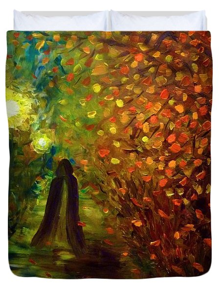 Duvet Cover featuring the painting Lady Autumn by Lilia D