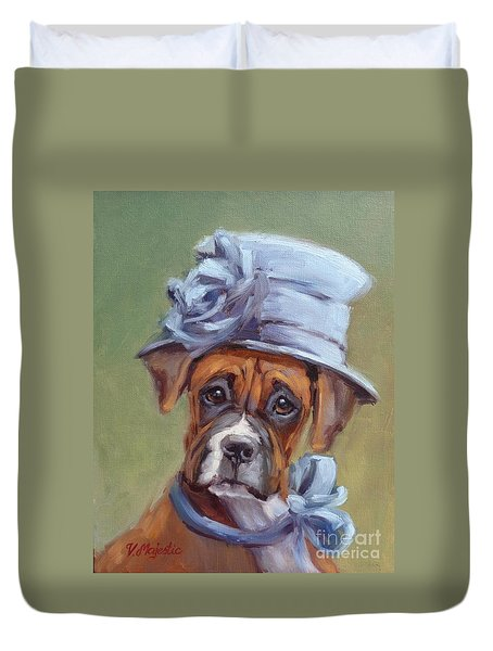 Lady Boxer With Blue Hat Duvet Cover