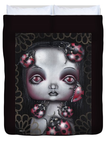 Lady Bug Girl Duvet Cover by Abril Andrade Griffith