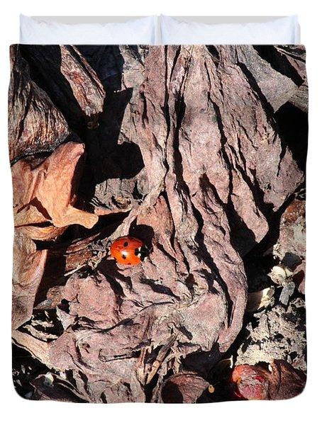 Lady Bug In Spring Duvet Cover