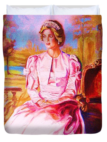 Duvet Cover featuring the painting Lady Diana Our Princess by Carole Spandau