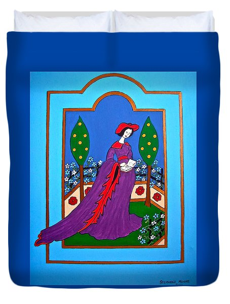 Lady In A Garden Duvet Cover