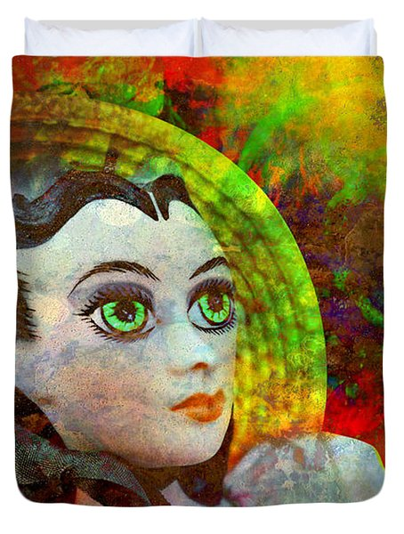 Duvet Cover featuring the mixed media Lady In Red by Ally  White