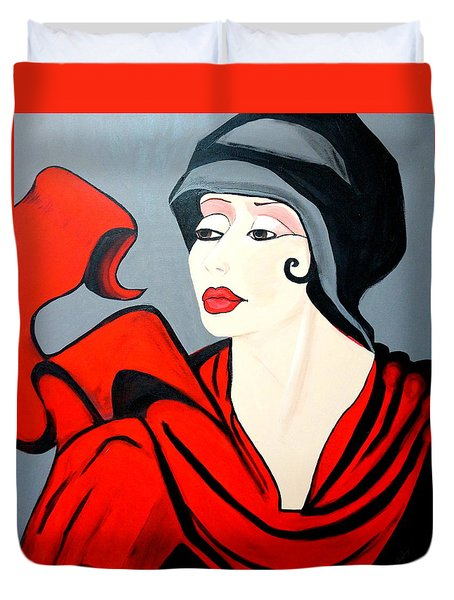 Lady In Red  Art Deco Duvet Cover