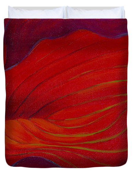 Duvet Cover featuring the painting Lady In Red by Sandi Whetzel