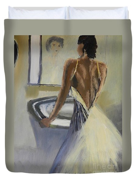 Duvet Cover featuring the painting Lady In The Mirror by Pamela  Meredith