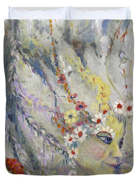 Duvet Cover featuring the painting Lady In The Waterfall by Avonelle Kelsey