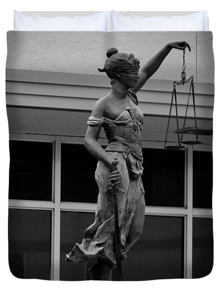 Duvet Cover featuring the photograph Lady Justice by Amber Kresge
