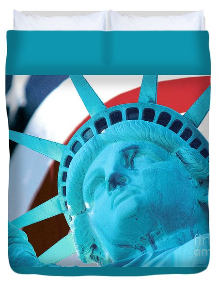 Duvet Cover featuring the photograph Lady Liberty  by Jerry Fornarotto