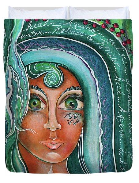 Lady Of Lourdes Madonna Duvet Cover by Deborha Kerr
