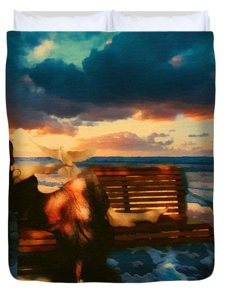 Lady Of The Ocean Duvet Cover