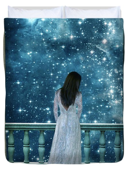 Lady On Balcony At Night Duvet Cover
