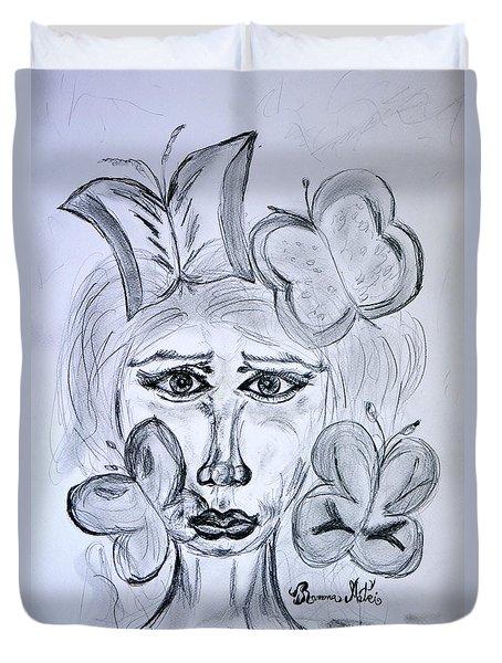 Lady Queen Of Butterflies Duvet Cover