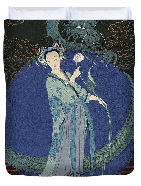 Lady With A Dragon Duvet Cover by Georges Barbier