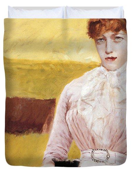 Lady With Black Kitten Duvet Cover by Giuseppe De Nittis