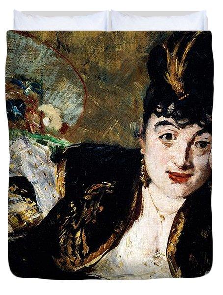 Lady With Fan Portrait Of Marie Anne De Callias Known As Nina De Callias Duvet Cover by Edouard Manet