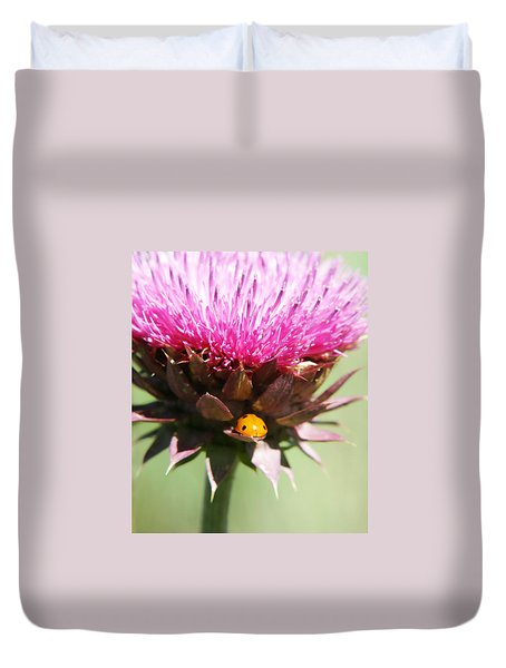 Ladybug And Thistle Duvet Cover by Marilyn Hunt
