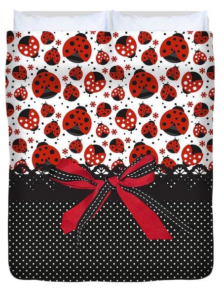 Ladybug Energy  Duvet Cover by Debra  Miller