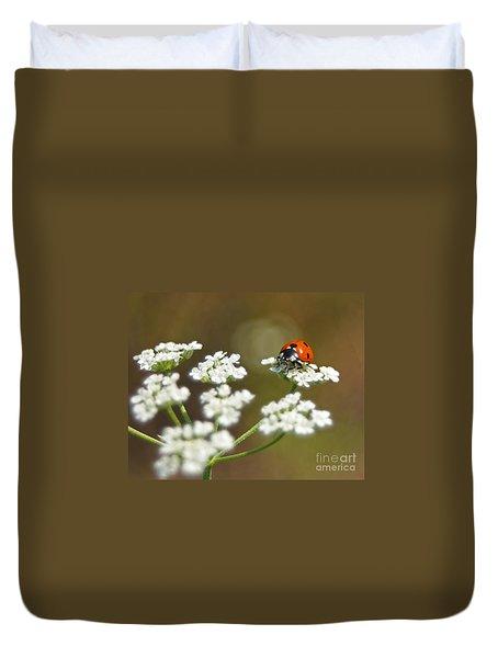 Ladybug In White Duvet Cover