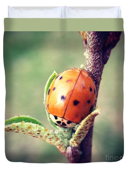 Duvet Cover featuring the photograph Ladybug  by Kerri Farley