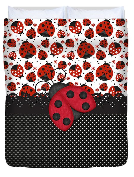 Ladybug Mood  Duvet Cover by Debra  Miller
