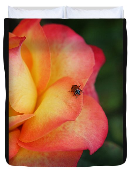 Ladybug On Rose Duvet Cover