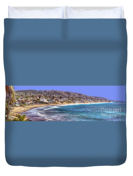 Laguna Beach Coast Panoramic Duvet Cover