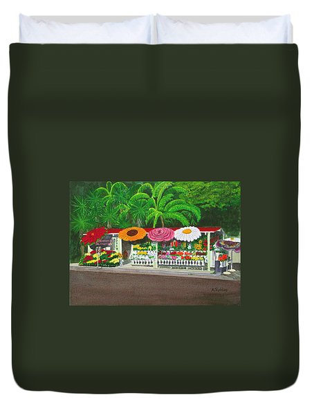 Laguna Beach Flower Stand Duvet Cover by Mike Robles