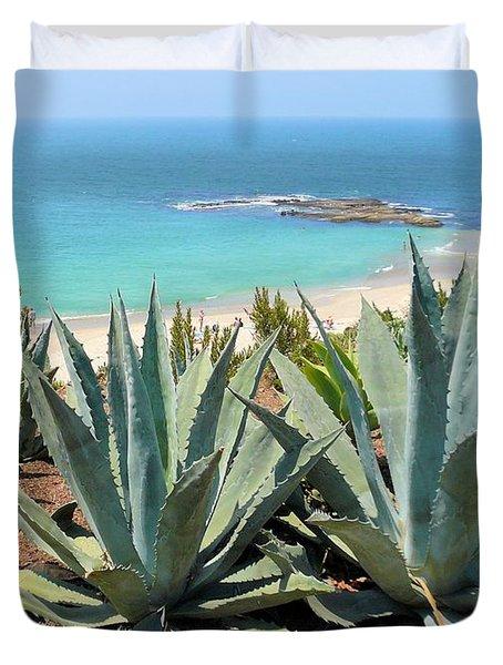 Laguna Coast With Cactus Duvet Cover