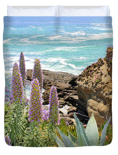 Laguna Coast With Flowers Duvet Cover