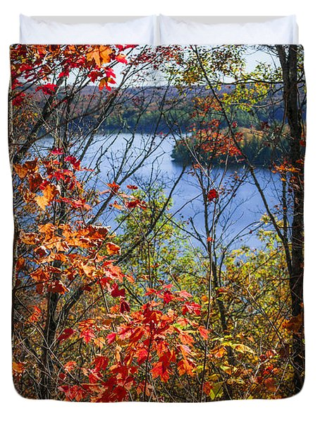 Lake And Fall Forest Duvet Cover