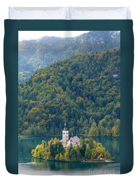 Duvet Cover featuring the photograph Lake Bled Island - Autumn by Phil Banks