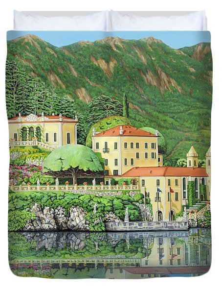 Duvet Cover featuring the painting Lake Como Morning by Jane Girardot