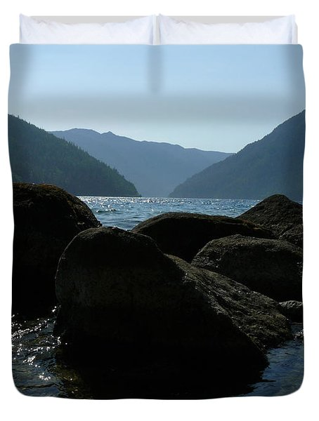 Duvet Cover featuring the photograph Lake Crescent by Jane Ford