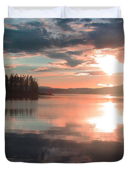 Lake Granby Sunset Duvet Cover by Chris Thomas