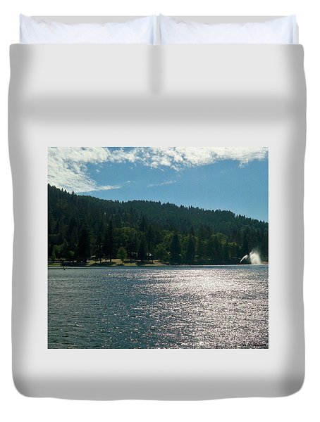 Scenic Lake Photography In Crestline California At Lake Gregory Duvet Cover