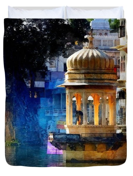 Lake House Gazebo India Rajasthan Udaipur Duvet Cover